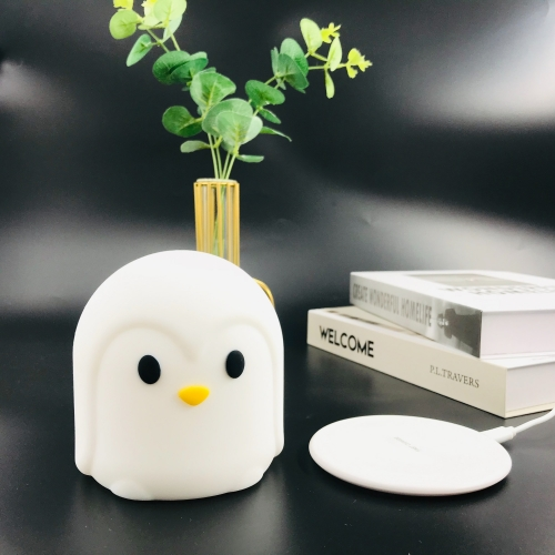 Cute animal silicone night light with wireless charger